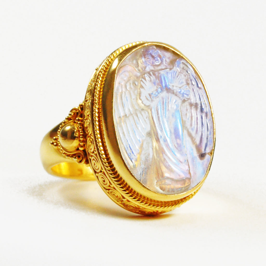 Blue Moonstone 10.4 carat 19.73 mm Carved Angel Cabochon 22K Handcrafted Gemstone Ring