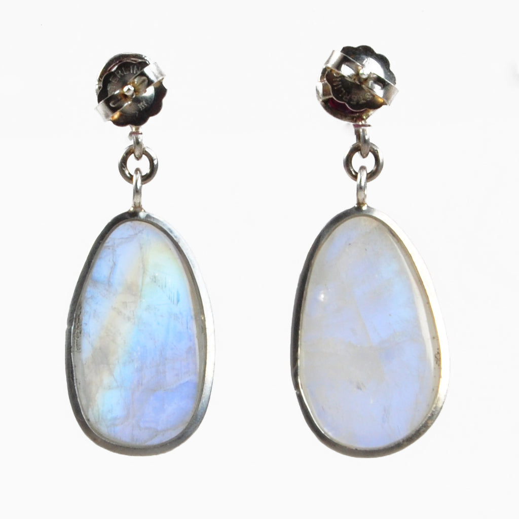 Moonstone with Pink Tourmaline 20.03mm 13.98 ct Polished Crystal Handcrafted Sterling Silver Gemstone Earrings