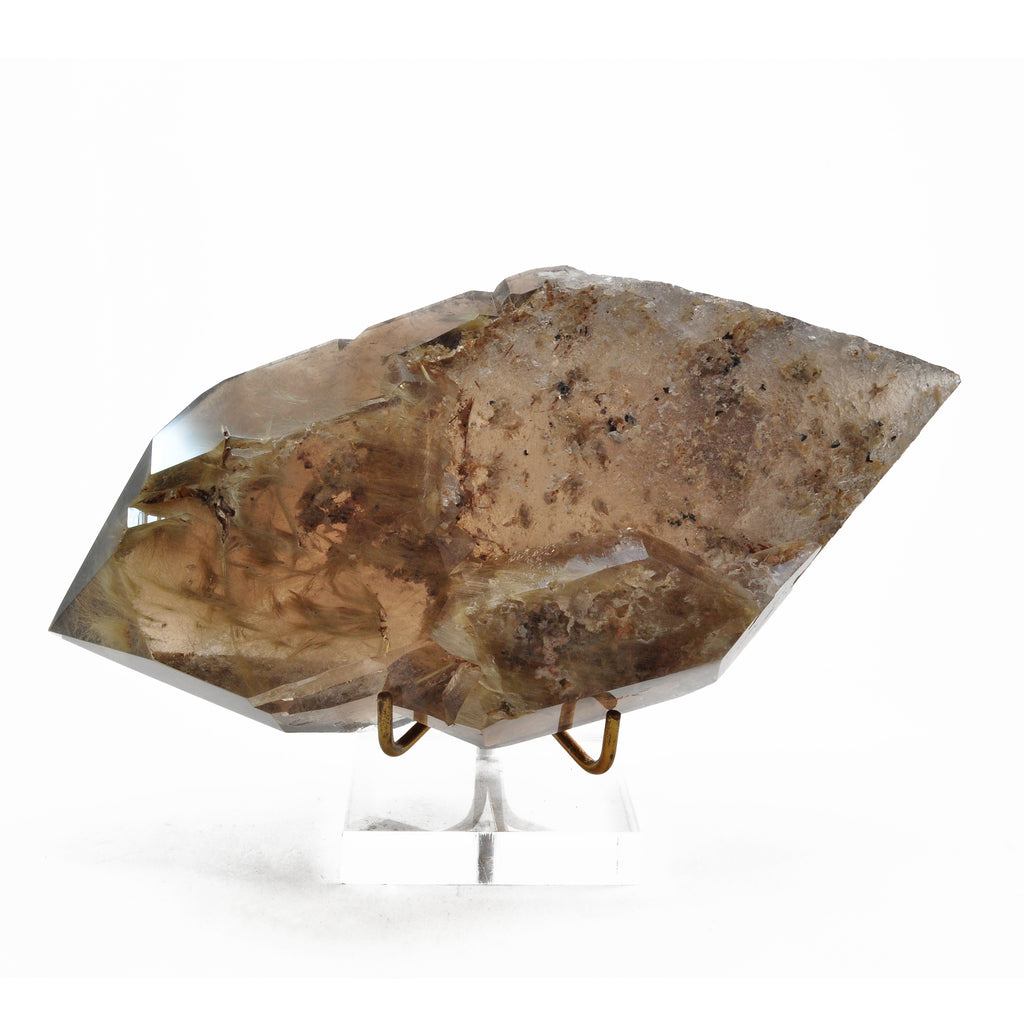 Rutilated Smoky Quartz 8 inch 3.0lbs Double Terminated Partial Polished Natural Crystal - Brazil
