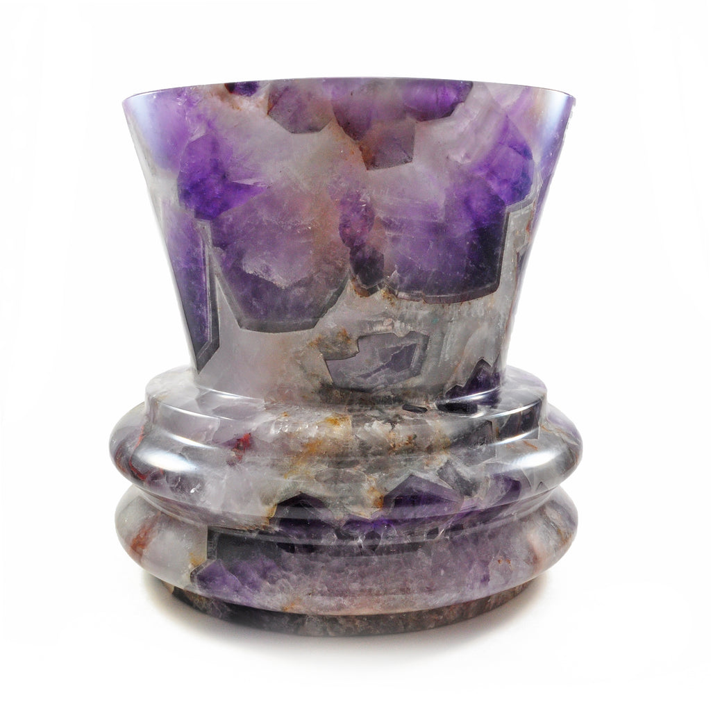 Chevron Amethyst 8 inch 16 lbs Natural Crystal Carved Vase