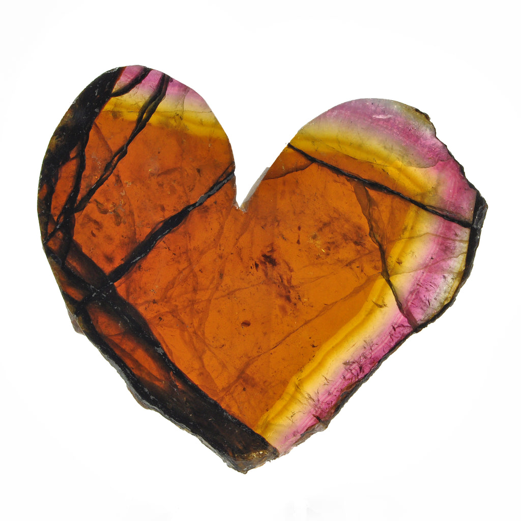 Pink and Green Tourmaline 2.58 inch 57.2 gr Heart-Shaped Partially Polished Gemstone Slice