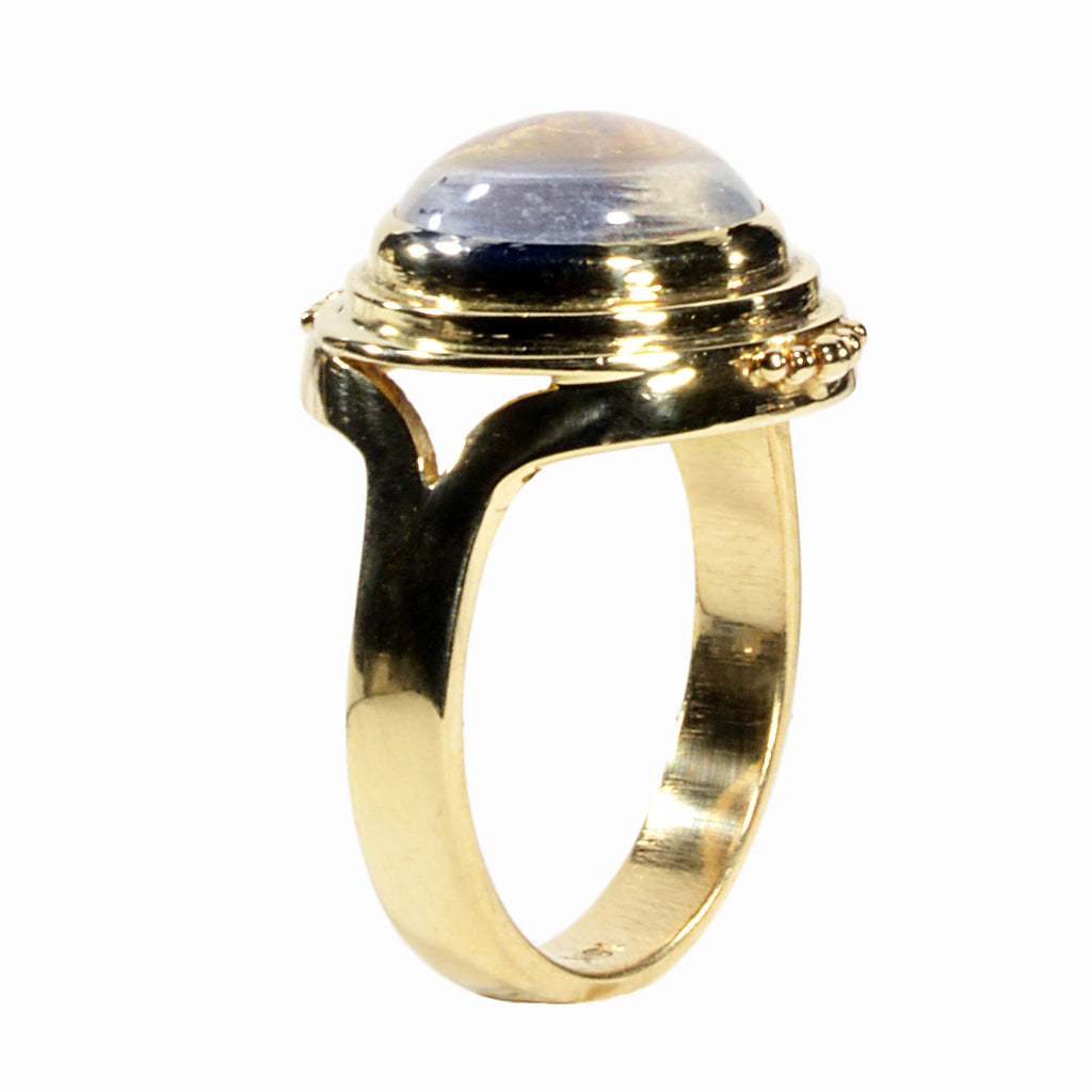 Gem Blue Moonstone 14K Handcrafted Ring