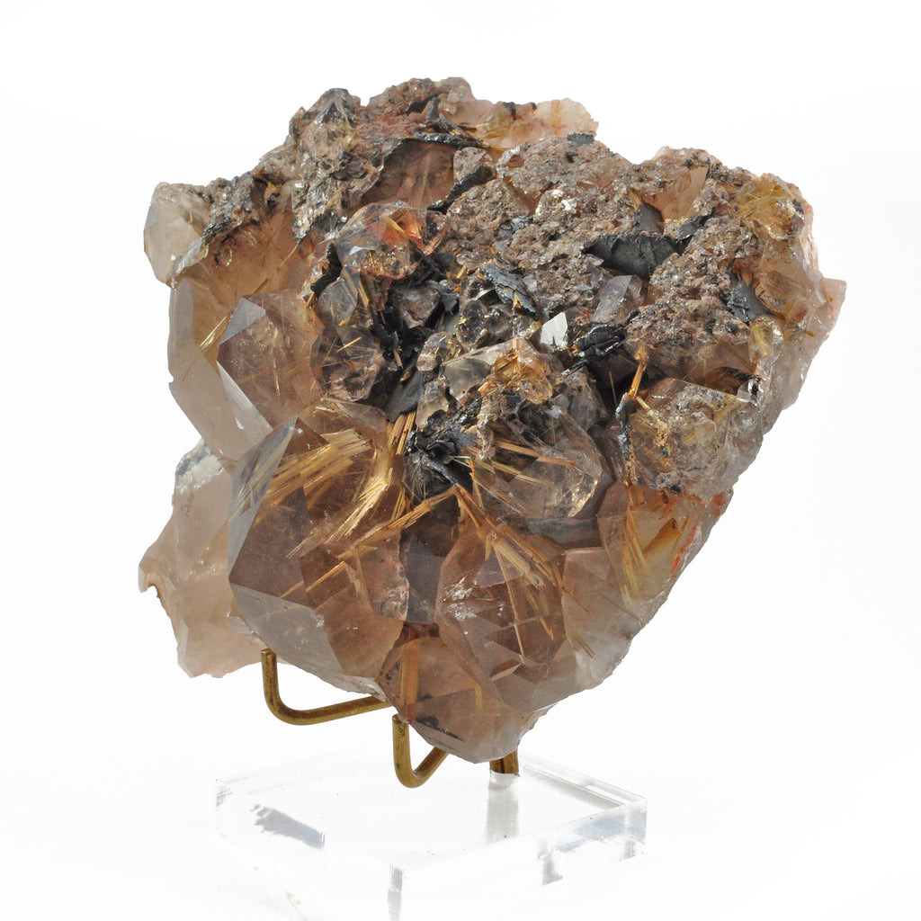 Rutilated Smoky Quartz 5.8 inch 2.7 lbs Natural Crystal Cluster - Brazil