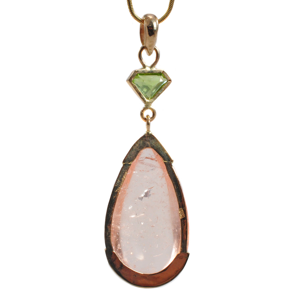 Morganite 37.64ct Teardrop Cabochon with 1.27ct Faceted Peridot Handcrafted 14k Pendant