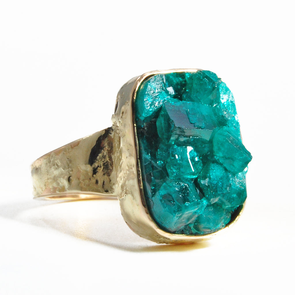 Dioptase 17.58 mm 15.62 ct Natural Crystal 14K Handcrafted Gemstone Ring