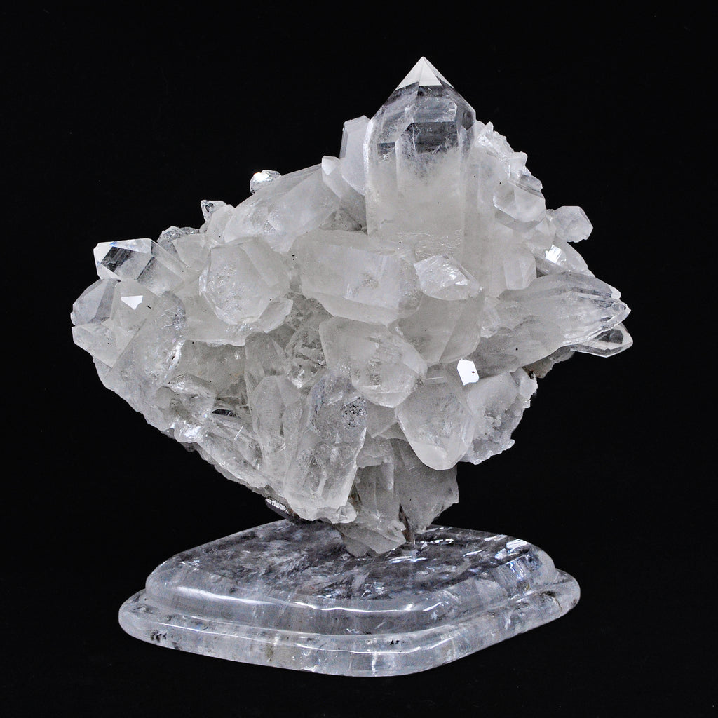 Quartz 6.7 inch 2.02 lbs Natural Crystal Cluster with Quartz Polished Stand - Brazil