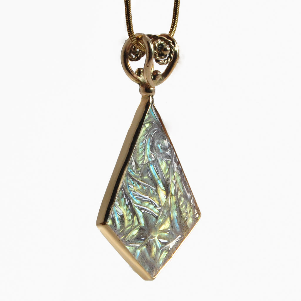 Floral Carved Labradorite 17.86ct Handcrafted Gemstone Pendant