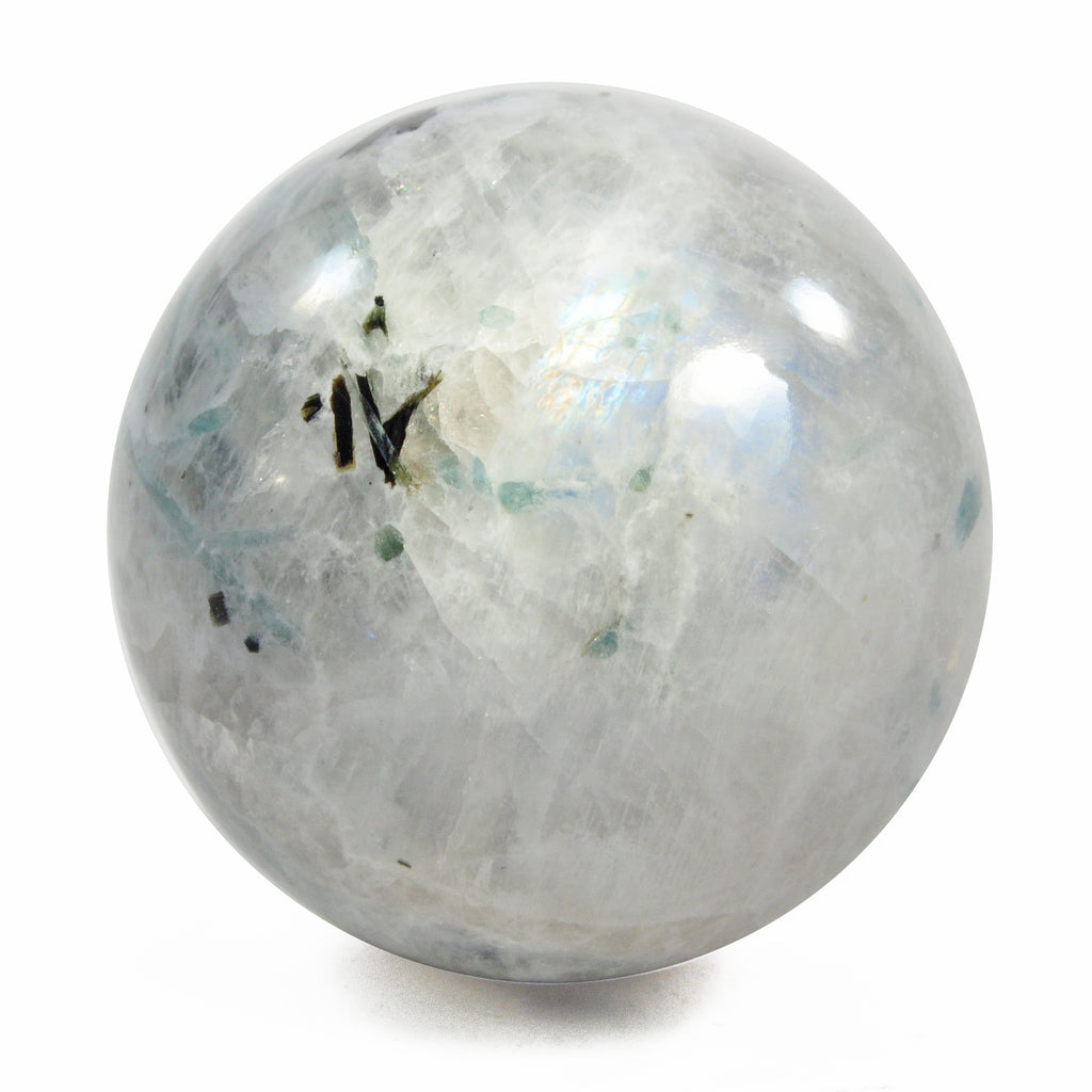 Moonstone 1.95 inch 168.2 gr with Blue Tourmaline Natural Crystal Polished Sphere - India