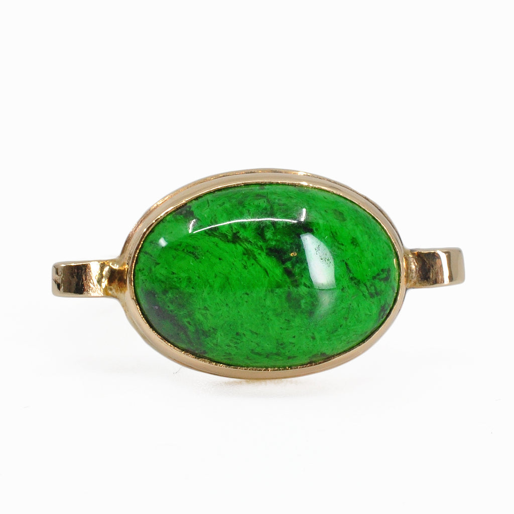 Maw Sit Sit Jade 14.48 mm Oval Cabochon 14K Handcrafted Gemstone Ring