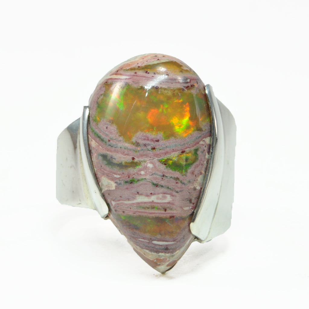 Mexican Matrix Opal 15.36ct Cabochon Handcrafted Sterling Silver Ring