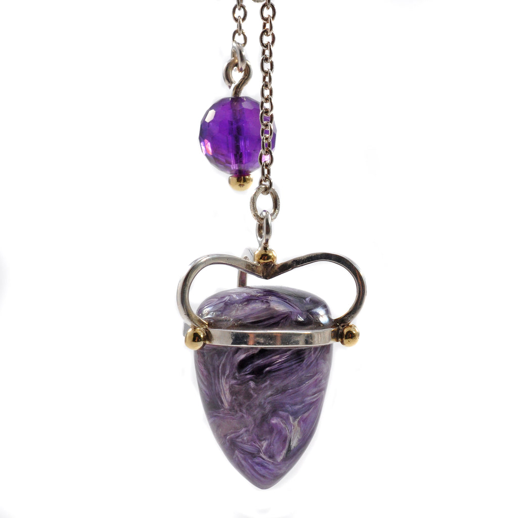 Charoite 24.93 mm 49.32 ct with Amethyst Sterling Silver with 14K Handcrafted Gemstone Pendulum