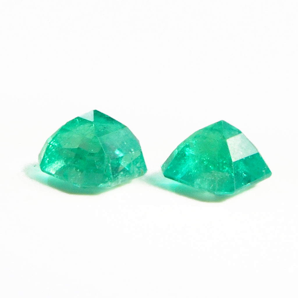 Emerald 8.49 mm 5.36 carats Faceted Emerald Cut Natural Gemstone Pair - Colombia