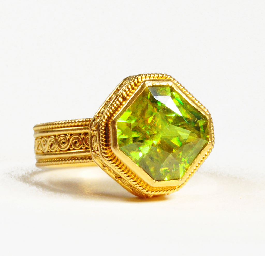 Sphene - Titanite 5.51 carat 11.65mm Faceted 22K Handcrafted Gemstone Ring