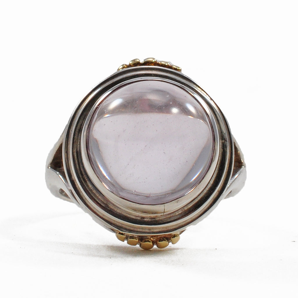 Kunzite 12.5 mm 13.97 ct Polished Cabochon Sterling Silver with 18K Accents Handcrafted Ring