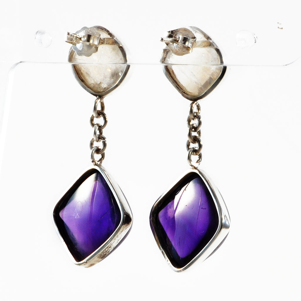 Amethyst with Moonstone Sterling Silver Handcrafted Earrings