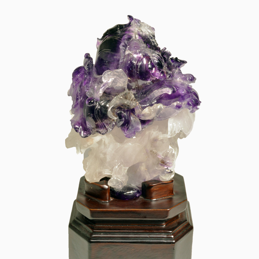 Amethyst 12 inch 6.35 lbs Natural Crystal Iris Gemstone Carving on Custom Wooden Base - China