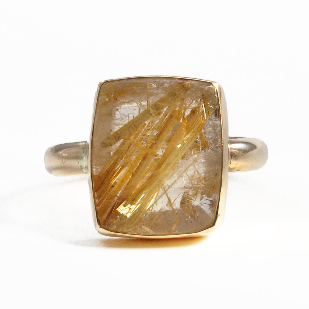 Rutilated Quartz 11.39 mm 6.83 carats Natural Crystal 14K Handcrafted Natural Gemstone Ring