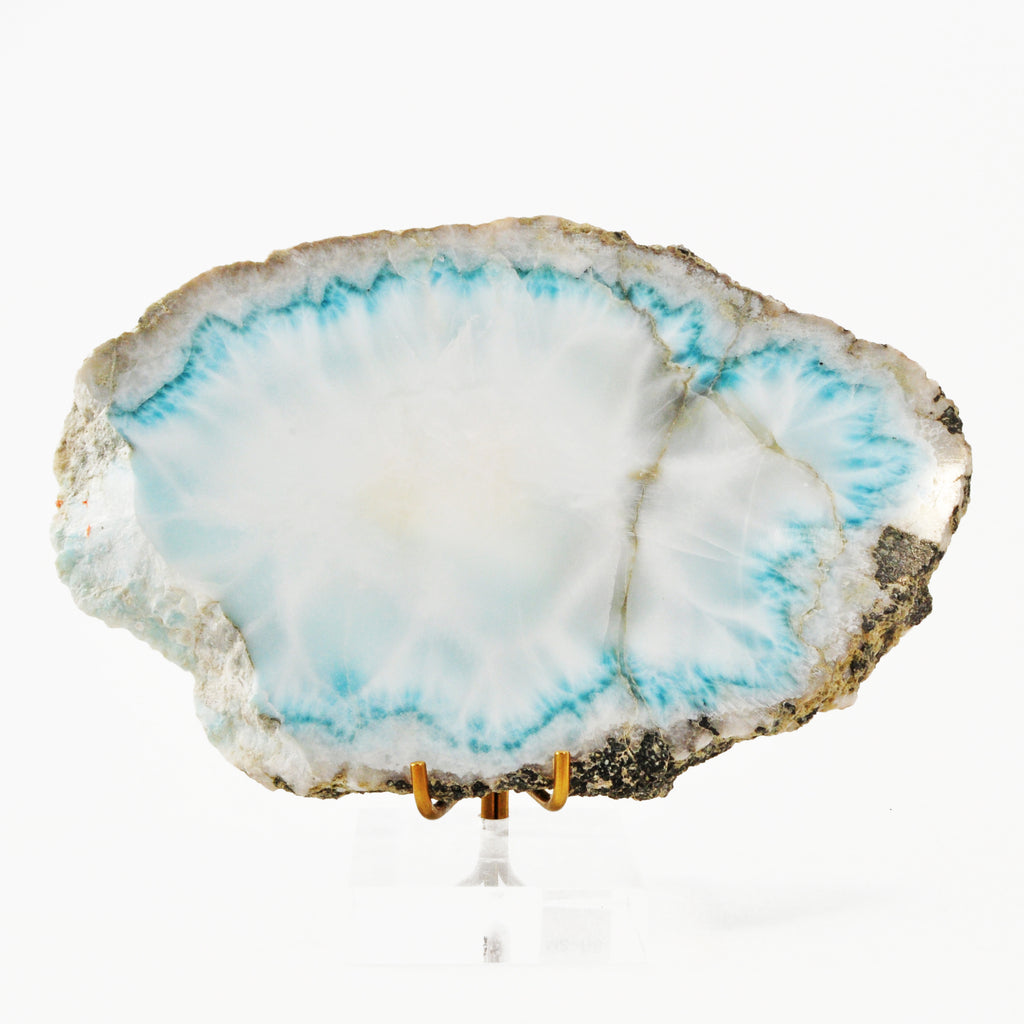 Larimar 5.83 inch Partial Polished Crystal Slice - Dominican Republic