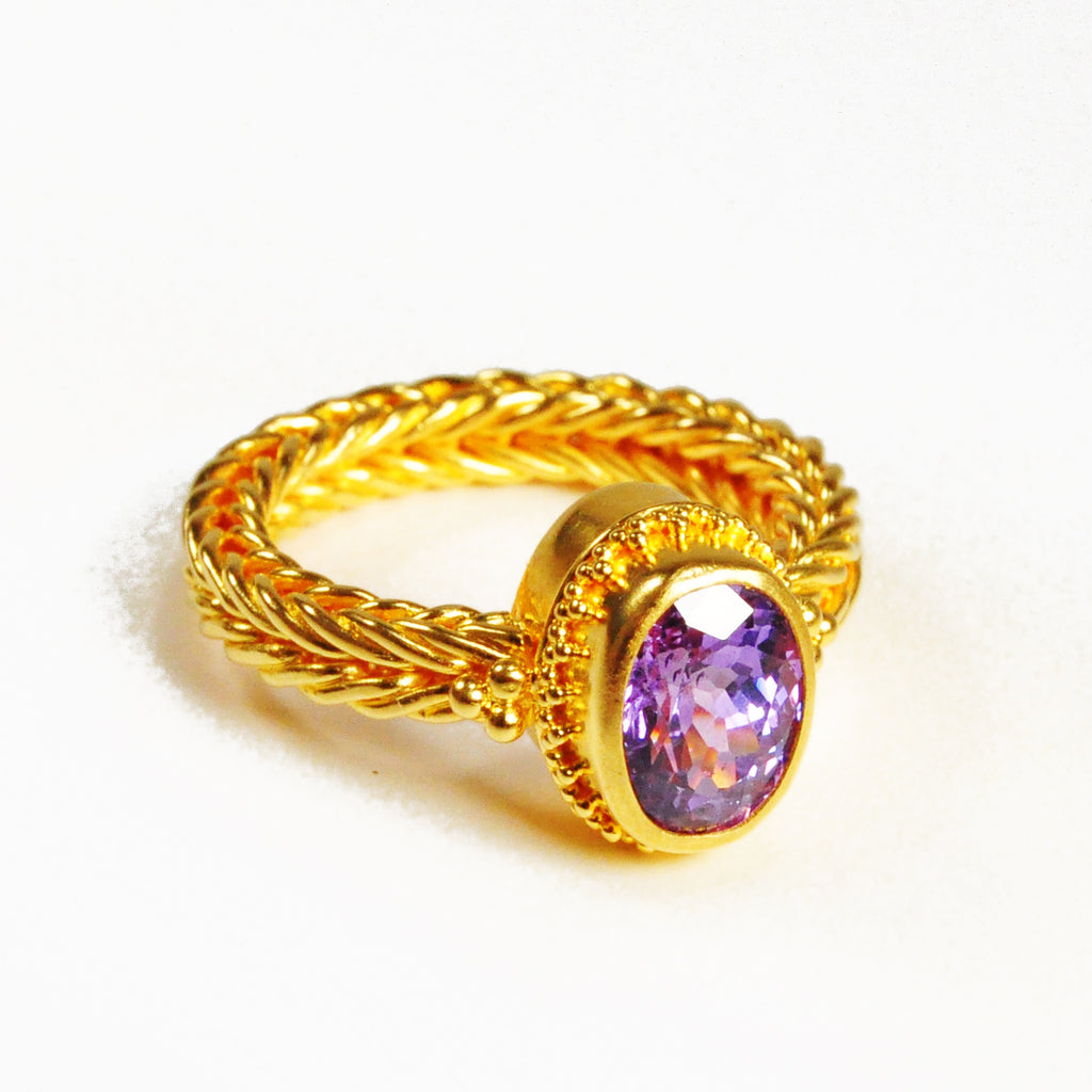 Sapphire 3.27 carat 10.82 mm Faceted Oval 22K Braided Band Handcrafted Gemstone Ring