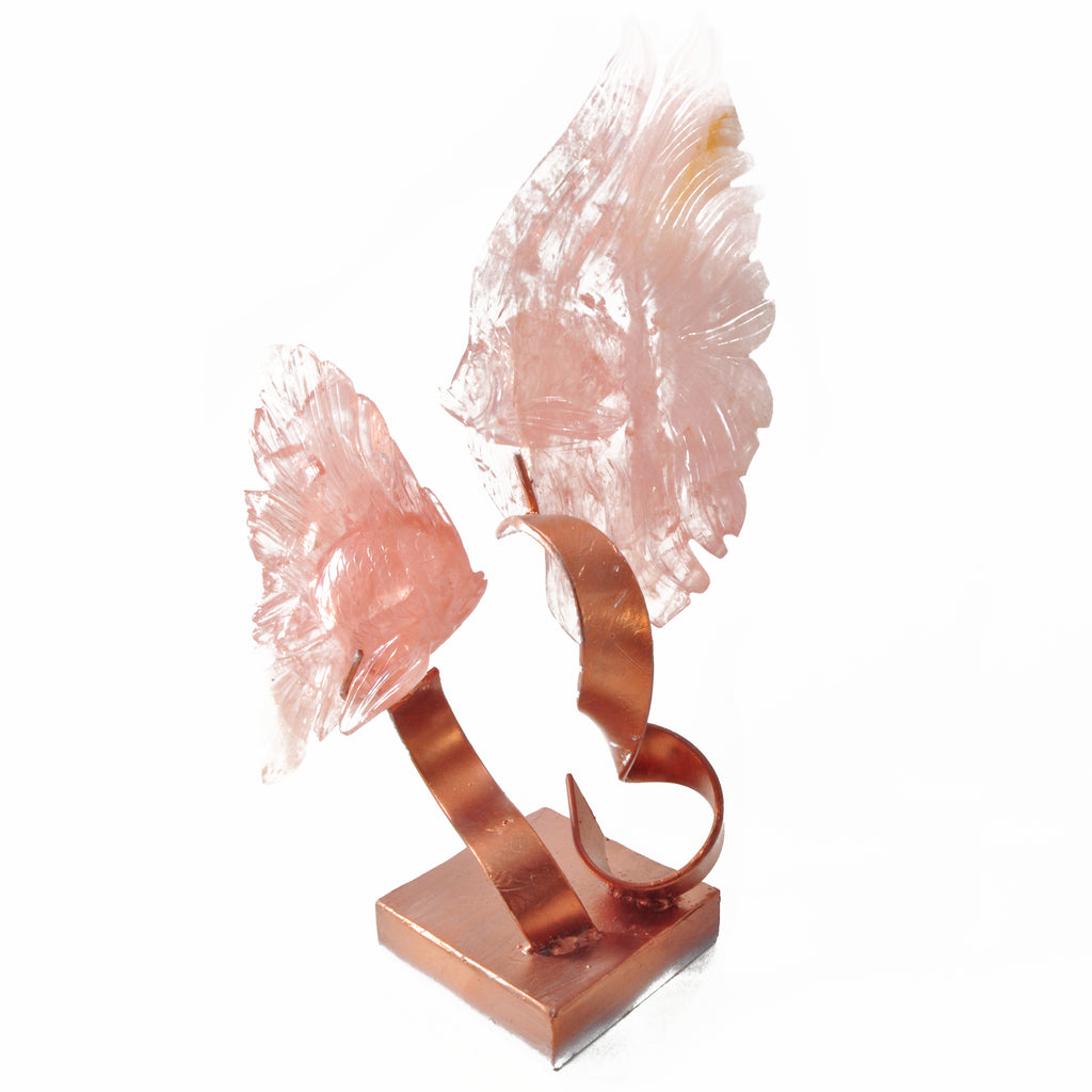 Rose Quartz Carved Crystal Angelfish on Stand - Brazil