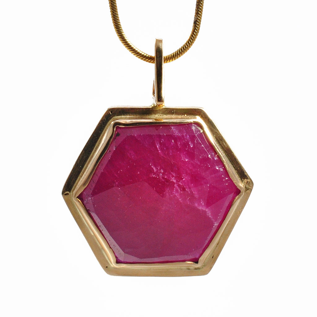 Ruby 24.06 mm 17.11 ct Rose Cut Hexagonal 14K Handcrafted Gemstone Pendant