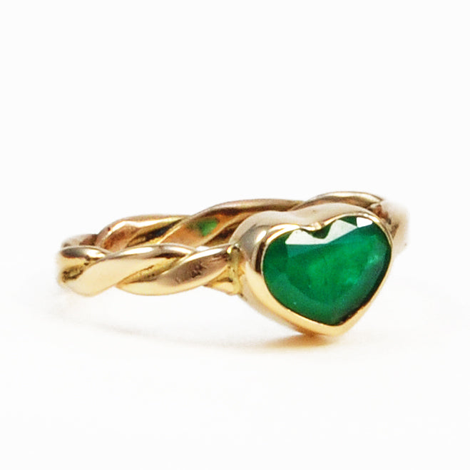 Emerald 1.16ct 9.55mm Natural Crystal 14K Handcrafted Heart-Shaped Gemstone Ring