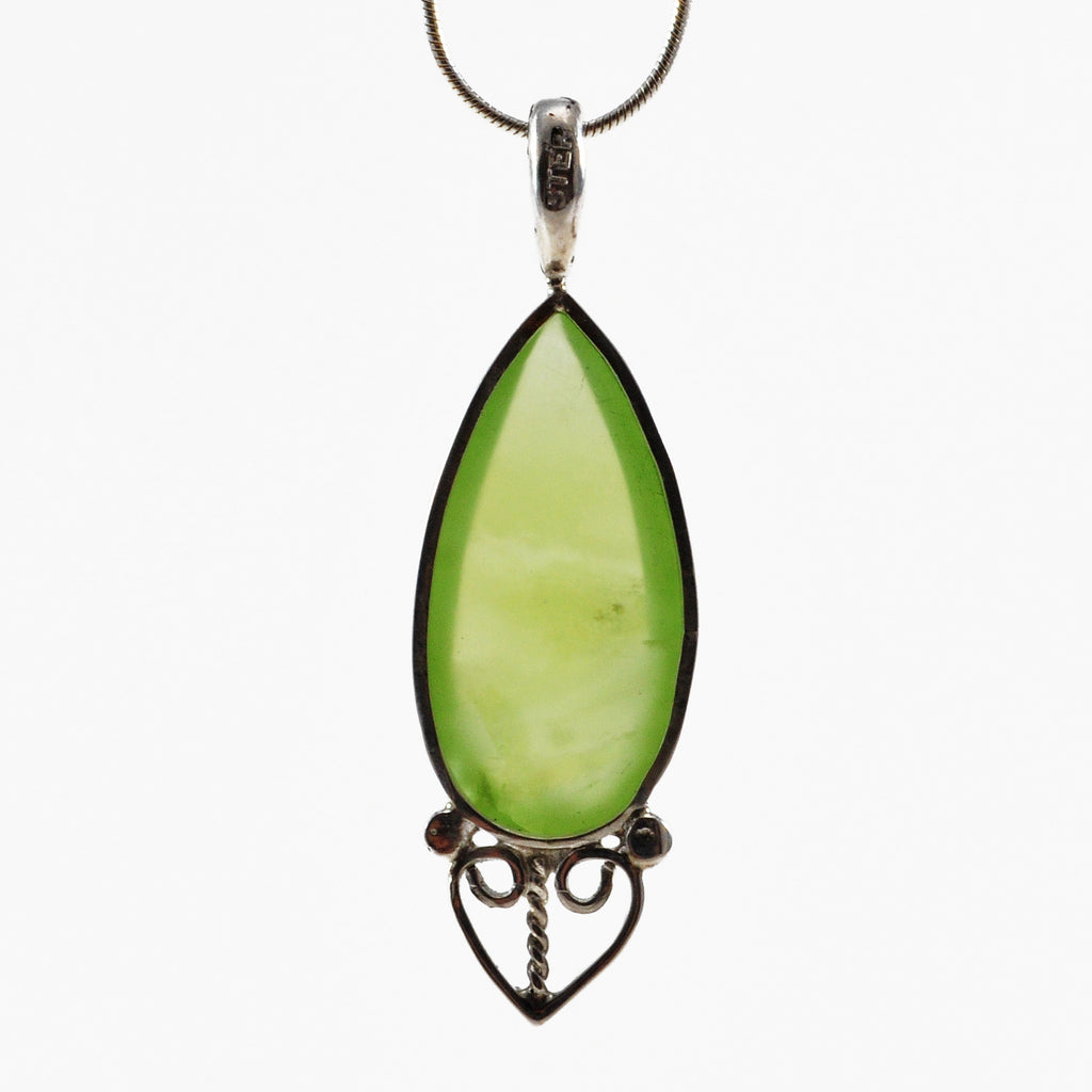 Prehnite 7.52ct Polished Teardrop Cabochon Sterling Silver Handcrafted Pendant