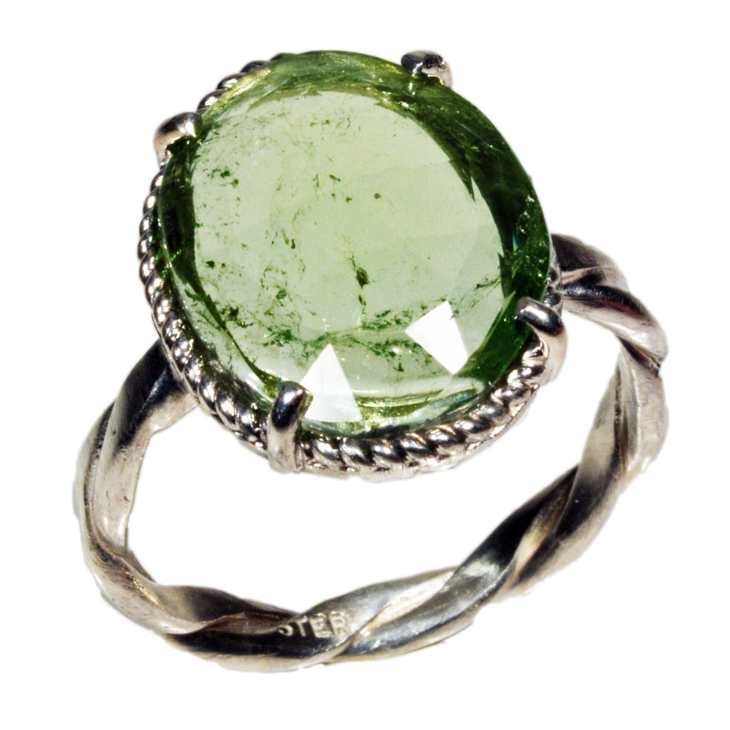 Green Tourmaline 5.72ct Rose Cut Sterling Silver Handcrafted Ring