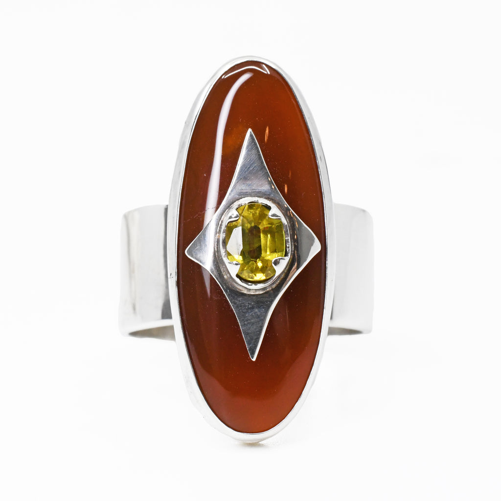 Carnelian Cabochon with Faceted Yellow Sapphire Sterling Silver Handcrafted Ring
