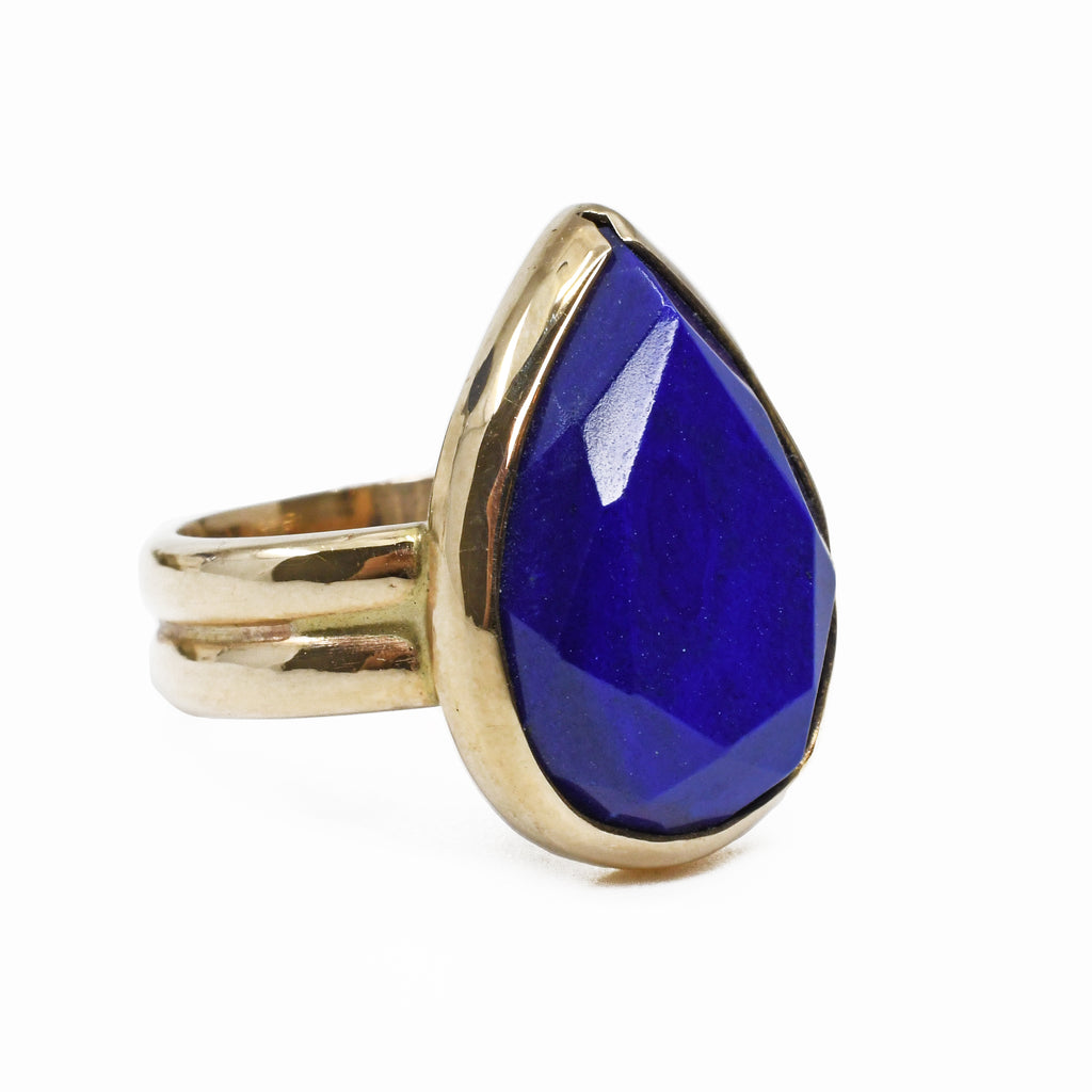 Lapis Lazuli 7.36 carats 17 mm Faceted Teardrop 14K Handcrafted Gemstone Ring