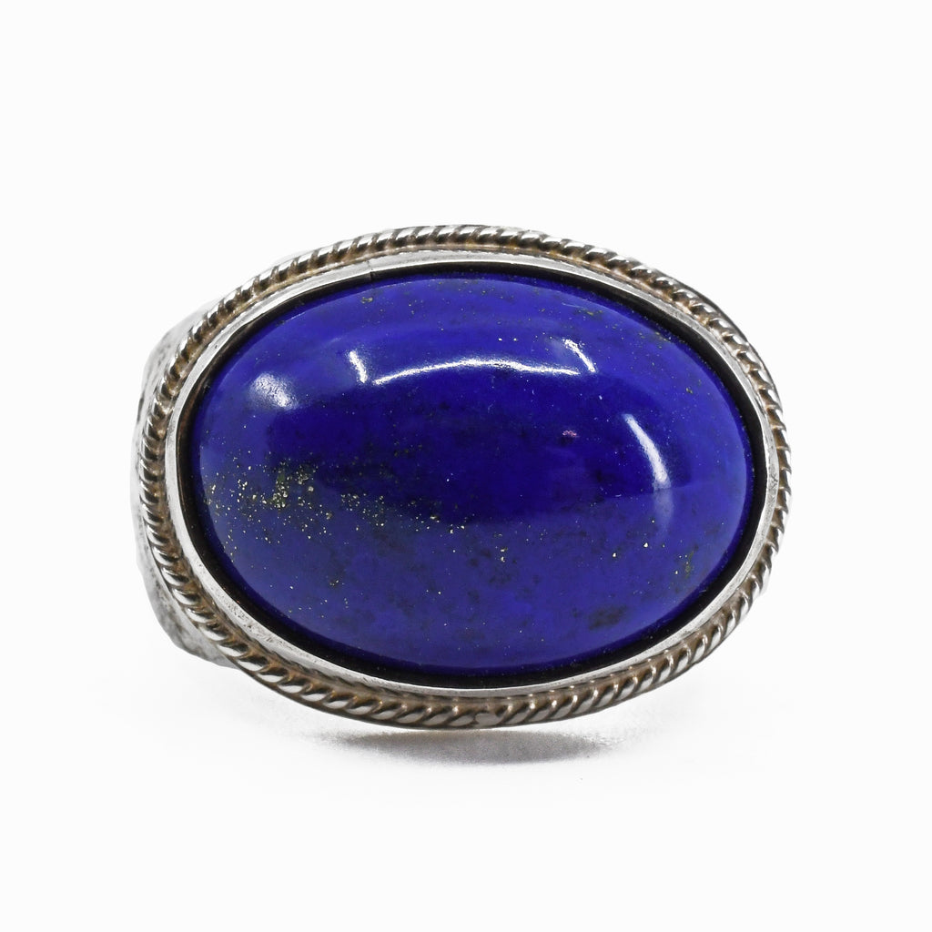 Lapis Lazuli Cabochon Sterling Silver Handmade Ring