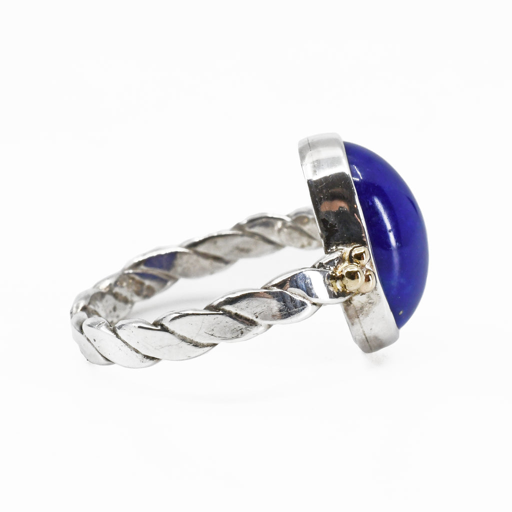 Lapis Lazuli Cabochon Sterling Silver & 14k Handcrafted Ring