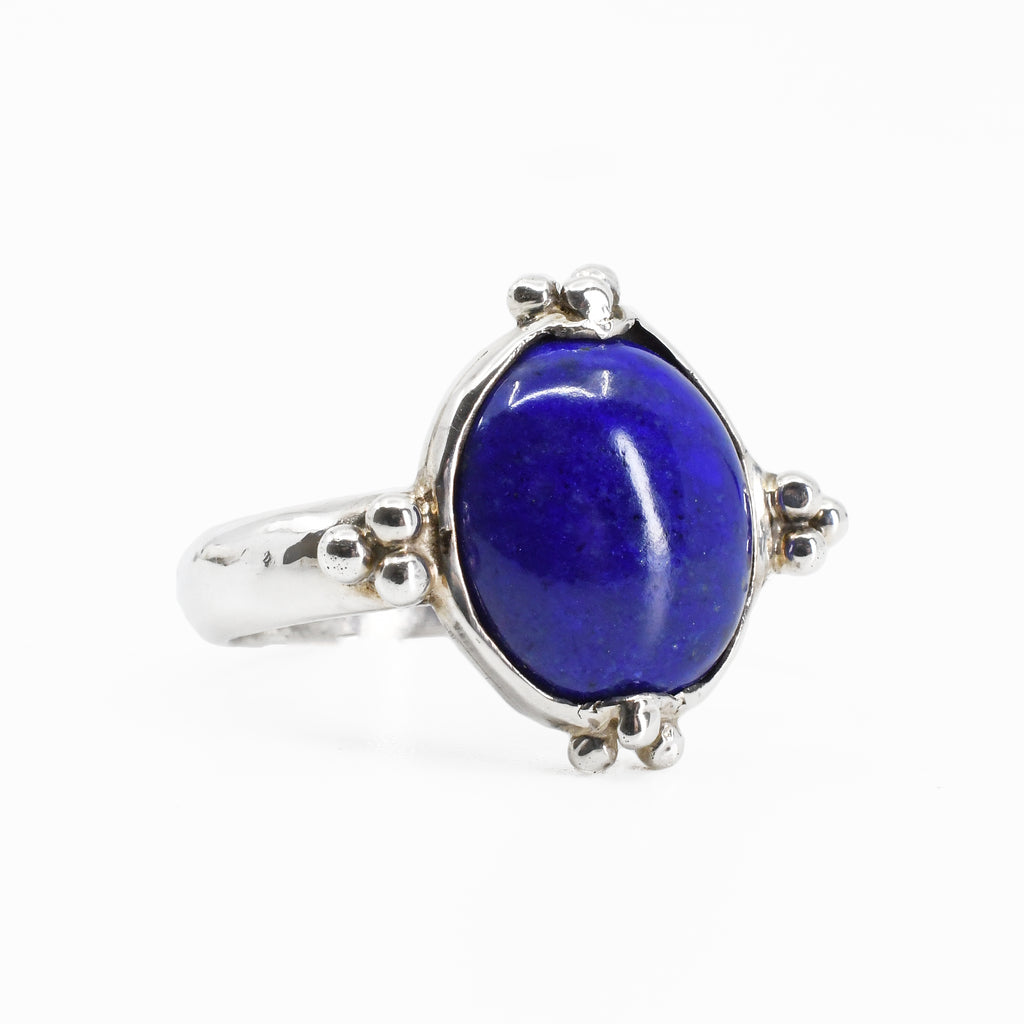 Lapis Lazuli Cabochon Sterling Silver Handcrafted Ring