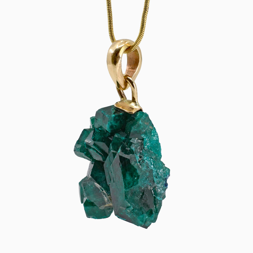 Dioptase 36.91ct Natural Gem Crystal 14k Handcrafted Pendant