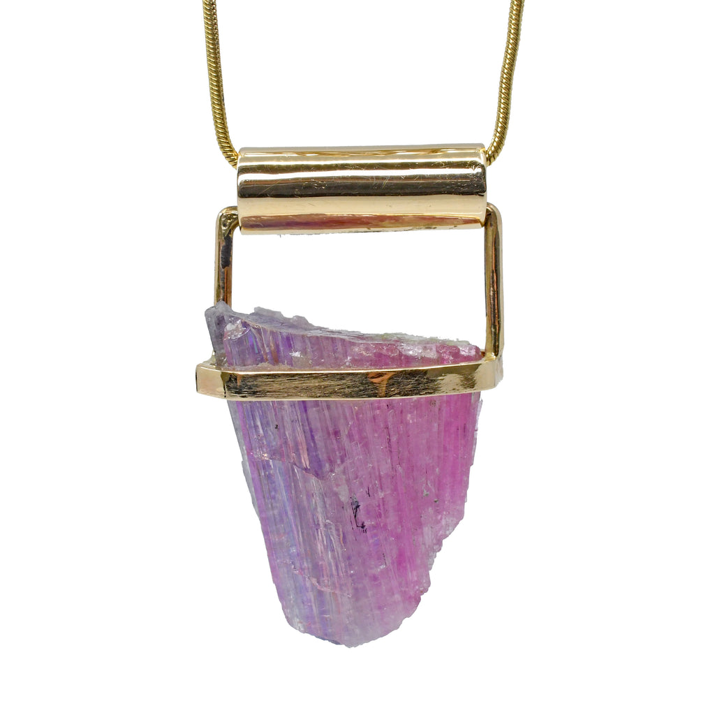Pink and Purple Zoisite 32.59ct Natural Crystal 14k Handcrafted Pendant