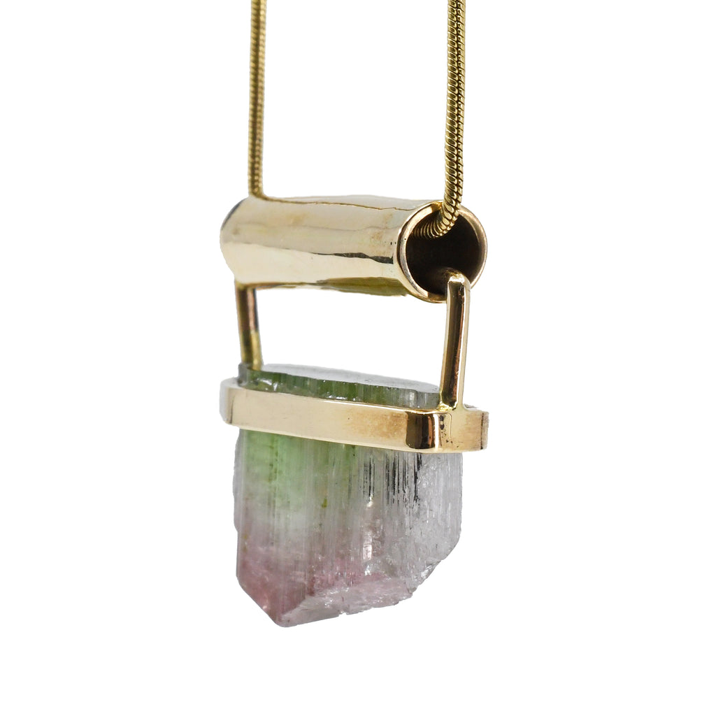 Green and Pink Tourmaline 29.7ct Natural Gem Crystal 14k Handcrafted Pendant