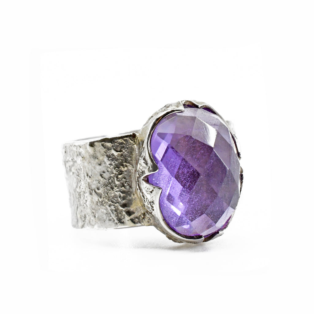 Amethyst Faceted Gemstone Sterling Silver Handcrafted Ring