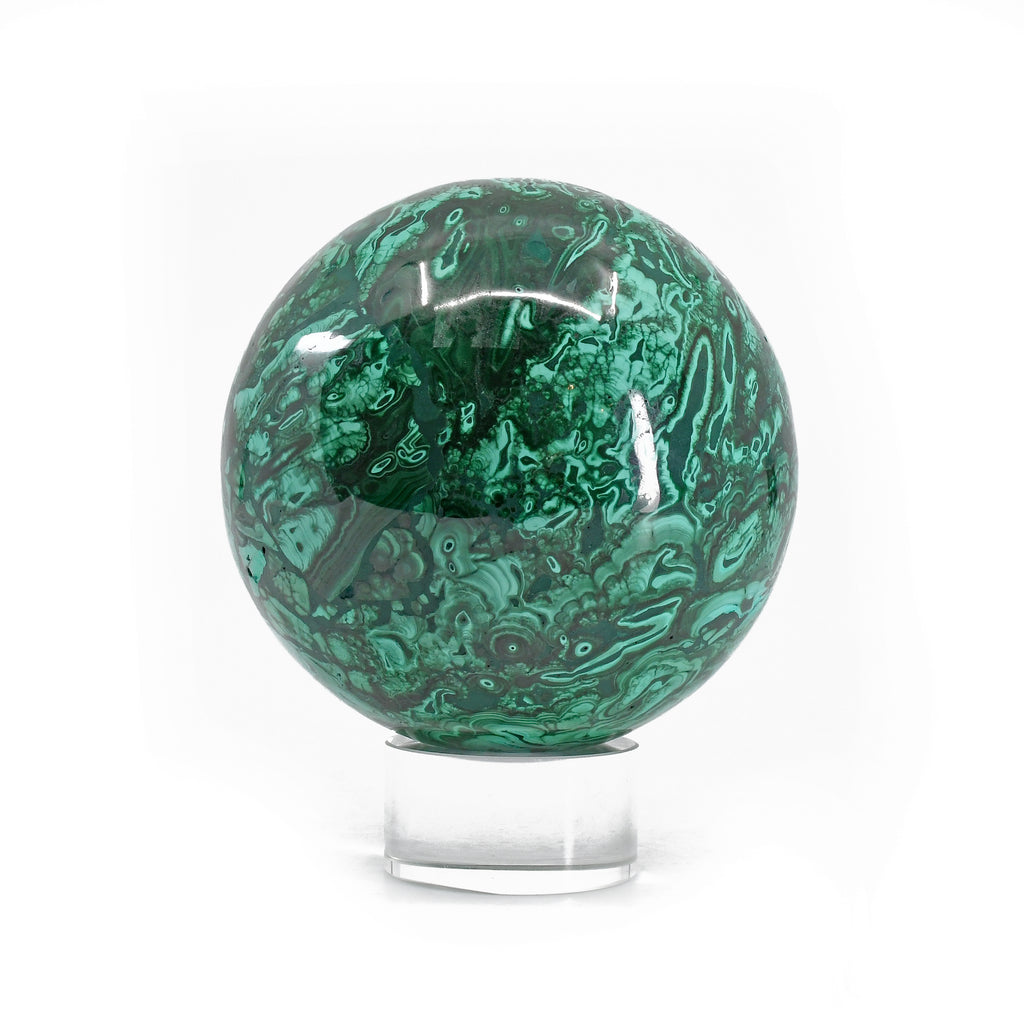 Malachite 3.33 inch 2.46 lbs Polished Crystal Sphere - Congo