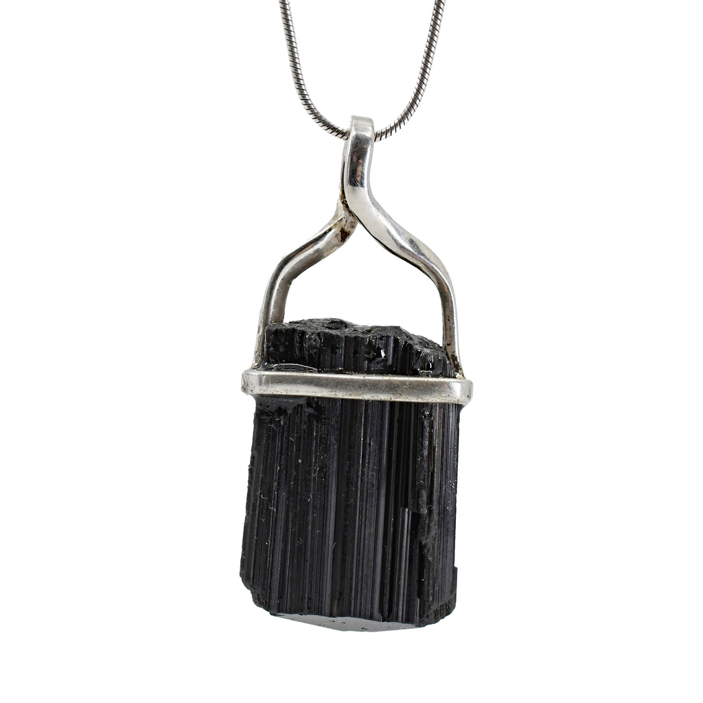 Black Tourmaline 27.2ct Sterling Silver Twist Pendant