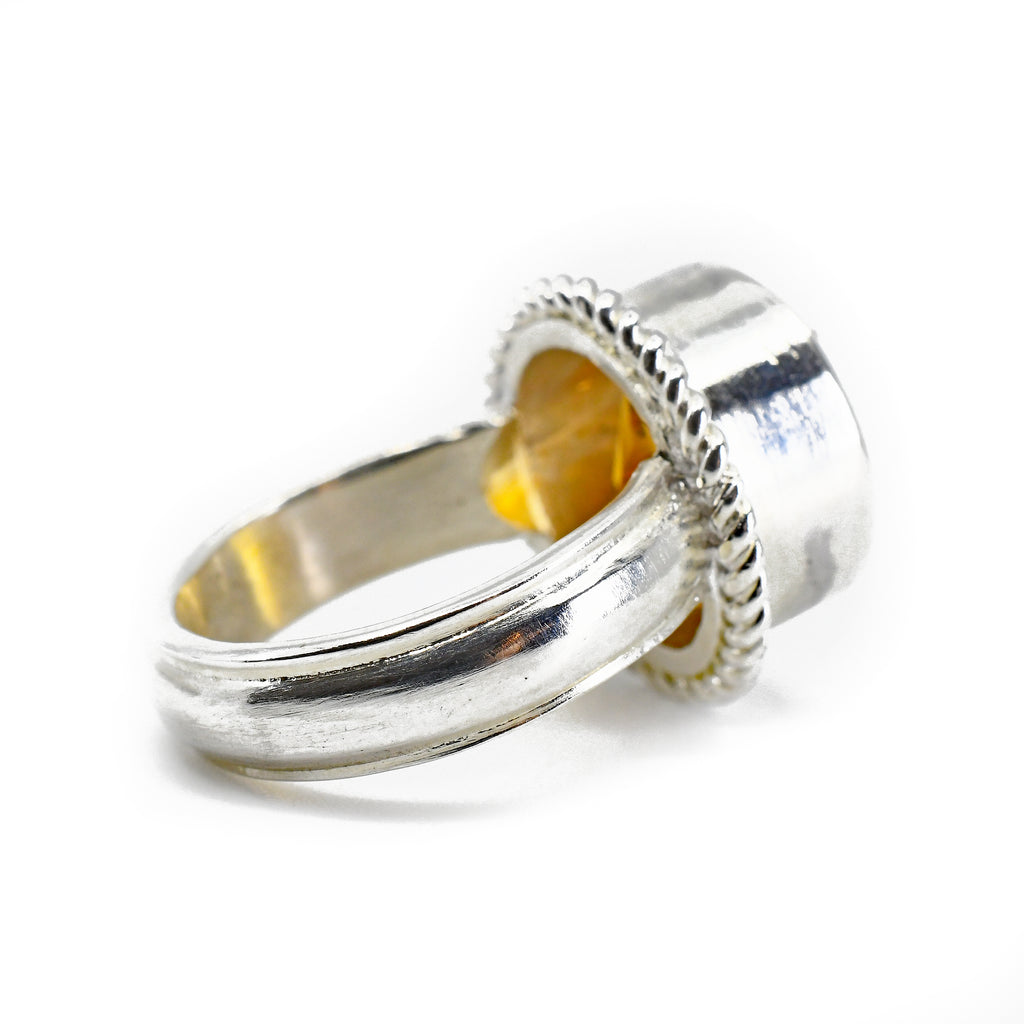 Citrine 6.31ct Faceted Round Sterling Silver Handcrafted Ring