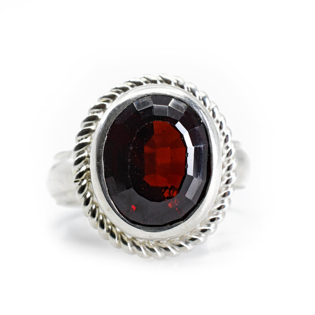 Garnet 6.76ct Faceted Oval Sterling Silver Handcrafted Gemstone Ring