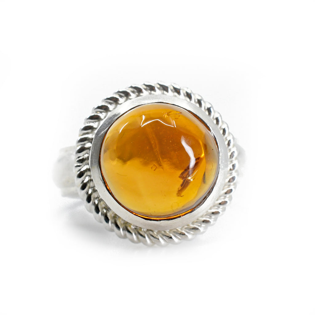 Madiera Citrine 6.34ct Round Cabochon Sterling Silver Handcrafted Gemstone Ring