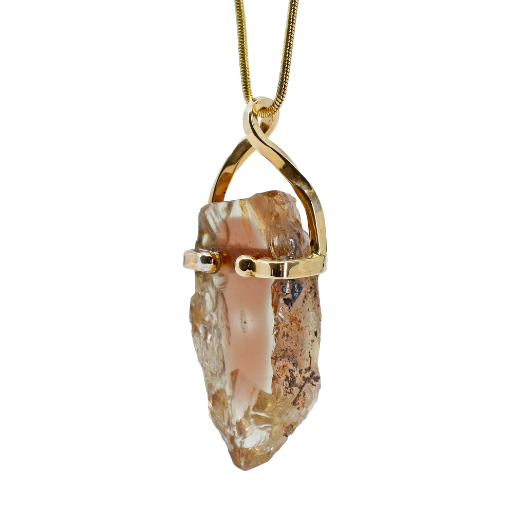 Oregon Sunstone 28.38 mm 28.47 ct Natural Crystal 14K Handcrafted Pendant