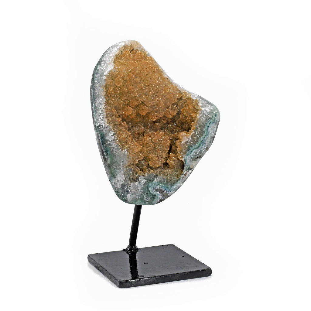 Druzy Quartz 10 inch 4.85 lbs Natural Crystal Geode on Metal Stand
