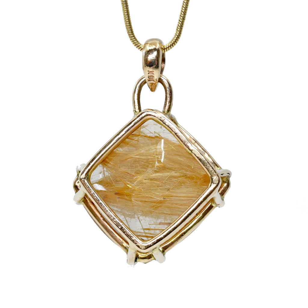 Rutilated Quartz 26.47ct 14k Handcrafted Cabochon Pendant