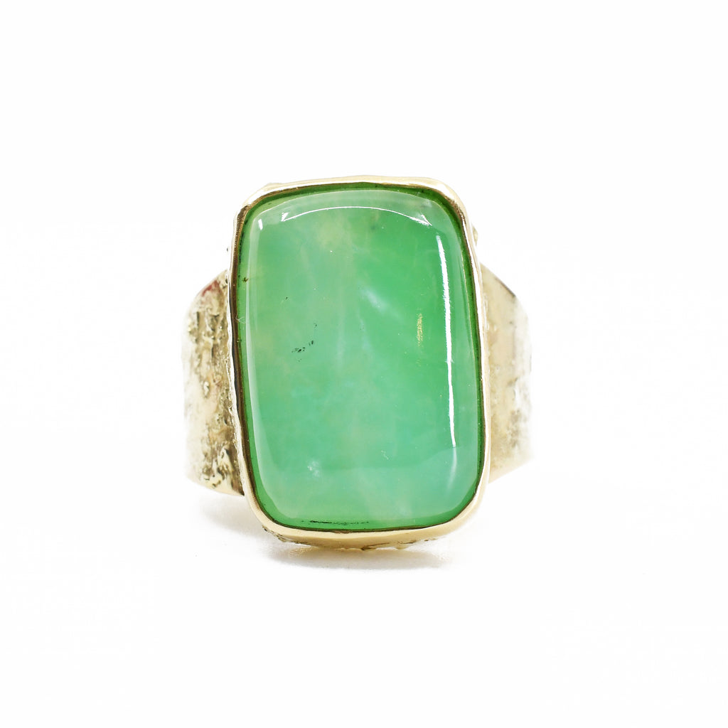 Chrysoprase Cabochon 14k Handcrafted Gemstone Ring