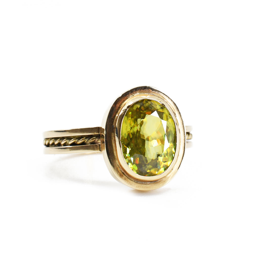 Faceted Sphene 14k Handcrafted Gemstone Ring