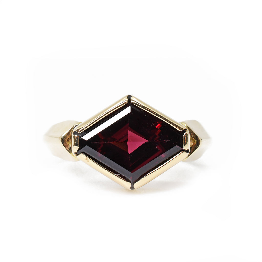 Garnet - Faceted Rhodolite Garnet 14kt Ring