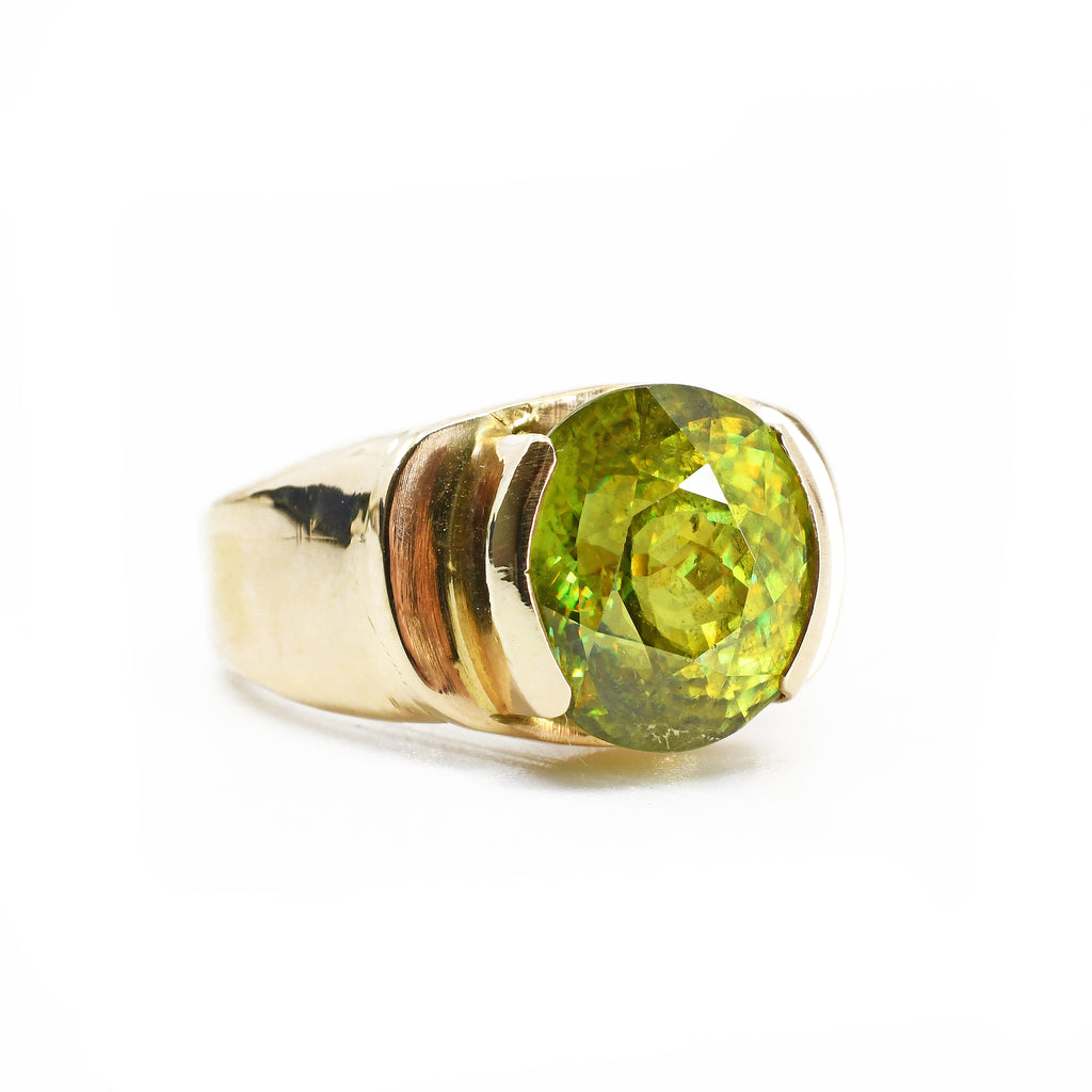 Sphene 5.05 carat Oval Faceted 14K Handcrafted Gemstone Ring
