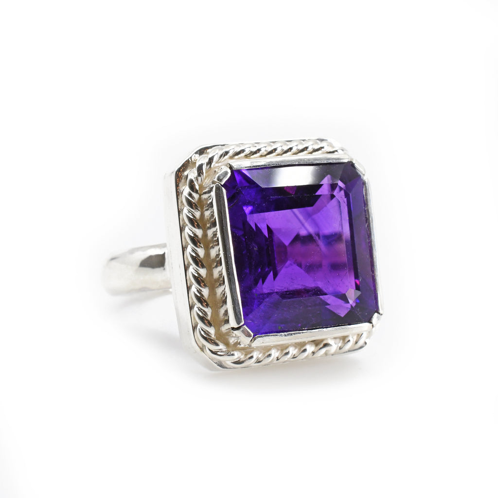 Amethyst 16.01 mm 7.21 carats Faceted Sterling Silver Handcrafted Gemstone Ring